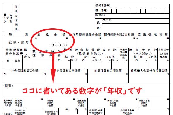 年収500万円の源泉徴収票