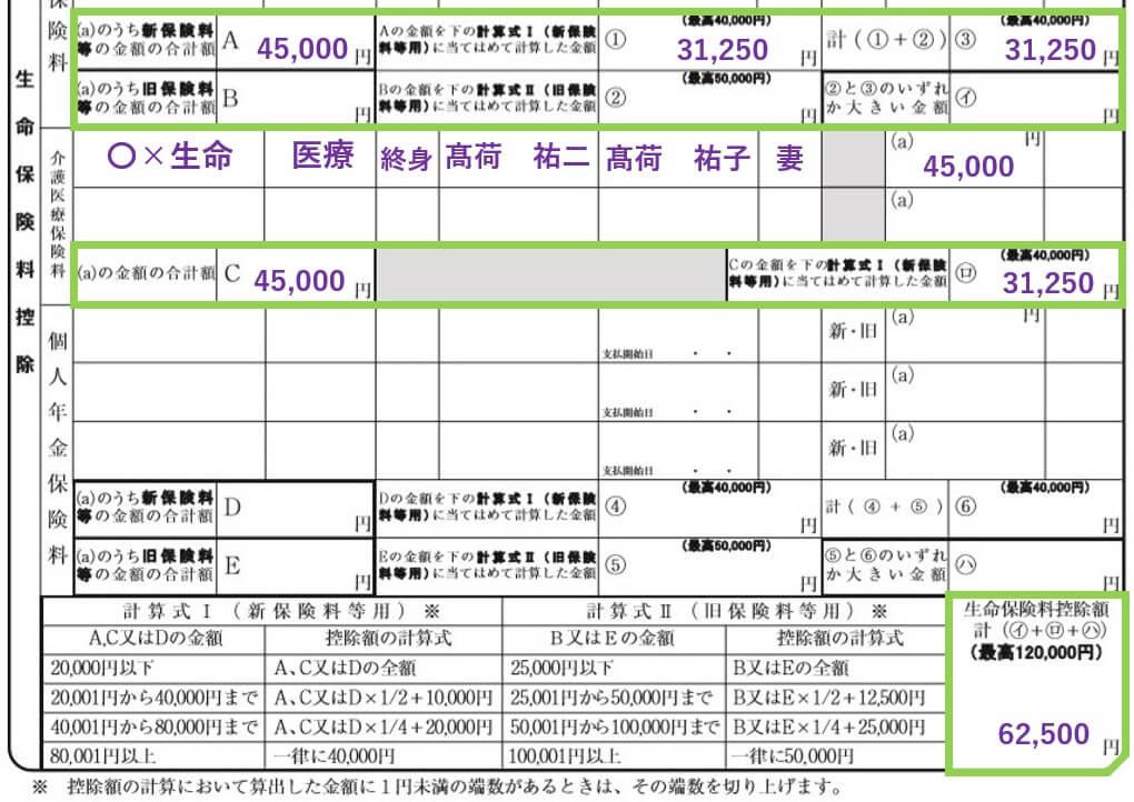 新生命保険のみ保険料控除申告書02