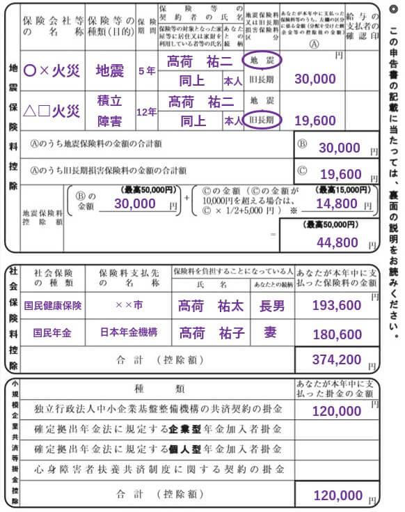 地震保険料控除等の記入方法